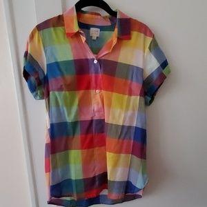 J Crew Factory rainbow plaid cotton popover top S